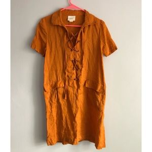 Maeve Linen Lace Up Dress in Mango Size 2